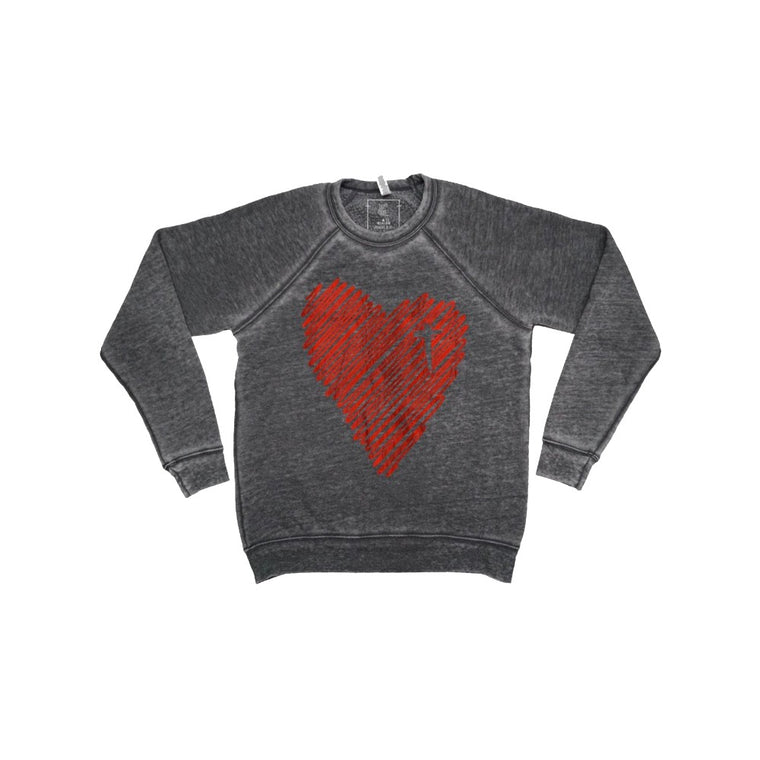 Scribble Heart Pullover (Red Foil) Acid-wash