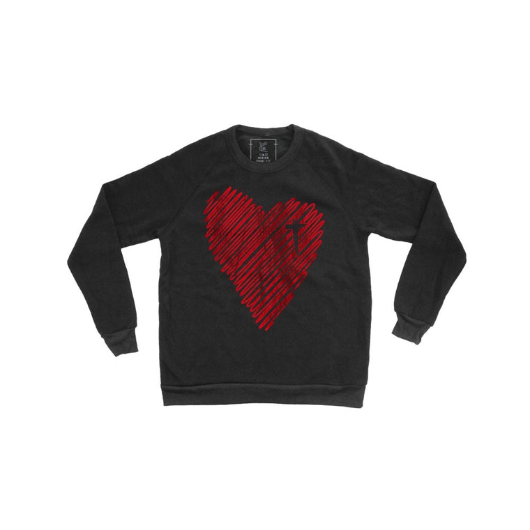 Scribble Heart Pullover (Red Foil)
