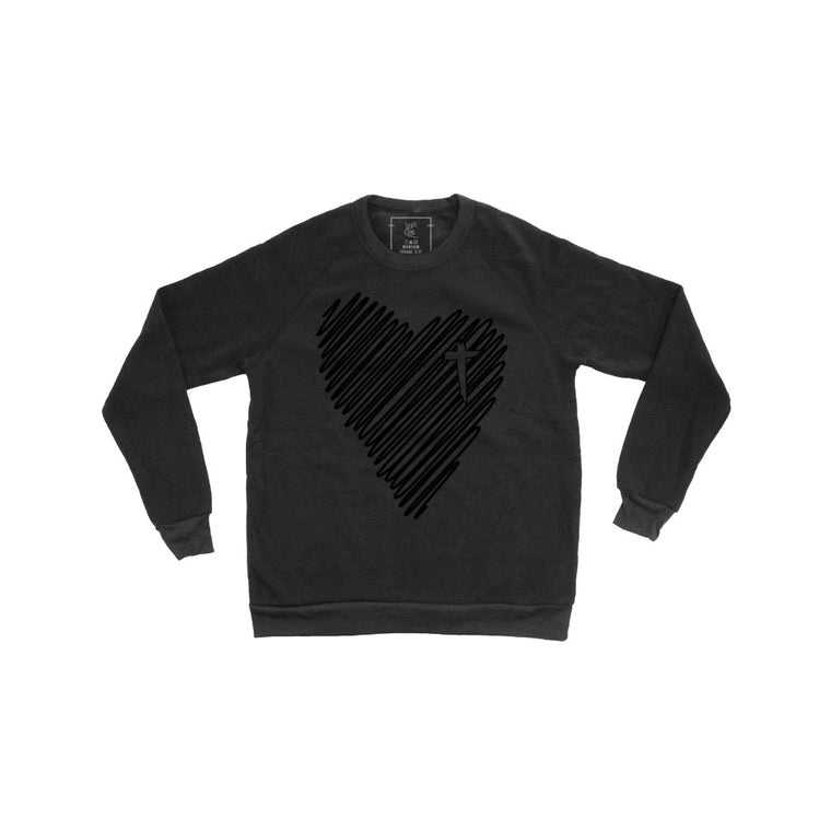 Scribble Heart Pullover (Black Foil)