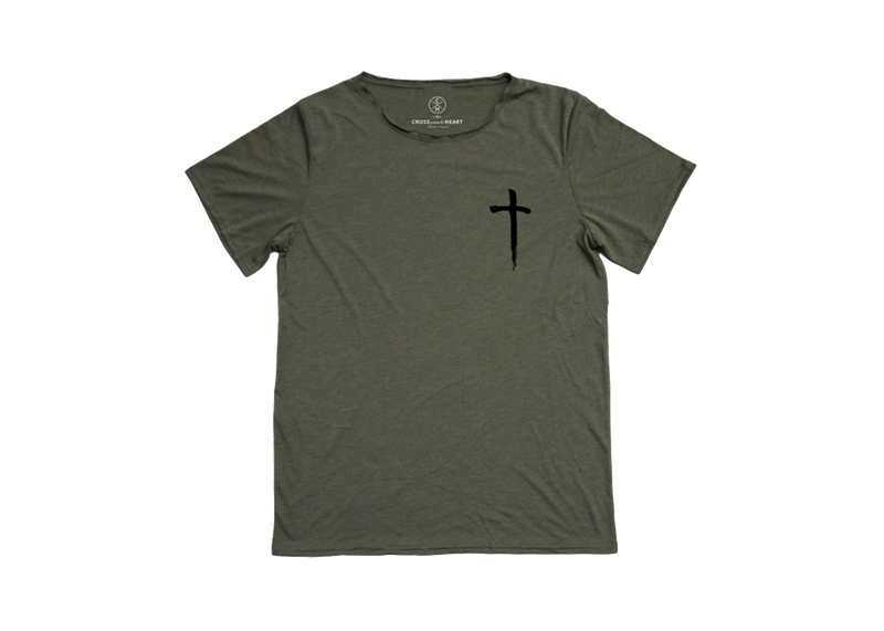 Raw neck Cross tee Material   Triblend fabric makes it wear-all-day soft...