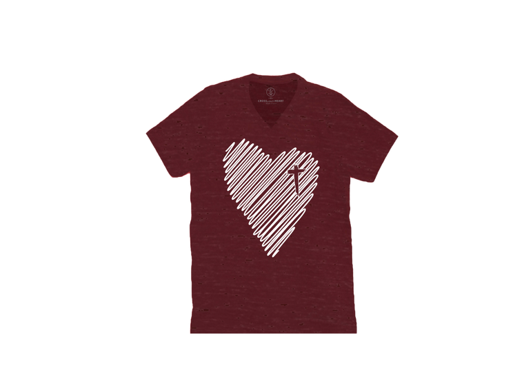 Scribble Heart V neck Tee