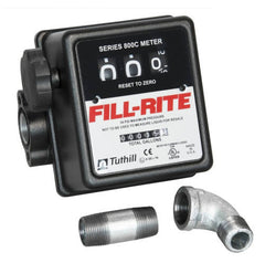 Fill-Rite Series 800C Flow Meter with 3/4'' Inlet & Outlet, Pipe Fittings