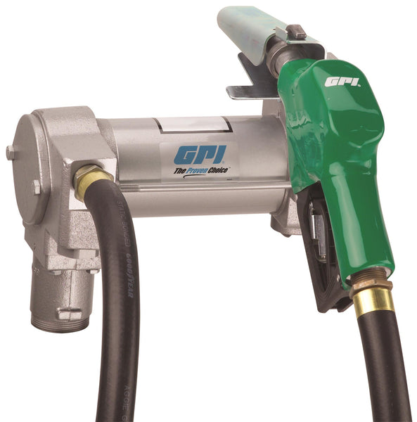 "GPI M-3025, 12 Volt DC, 25 GPM, Manual Unleaded, 1"" x 12'-0"""