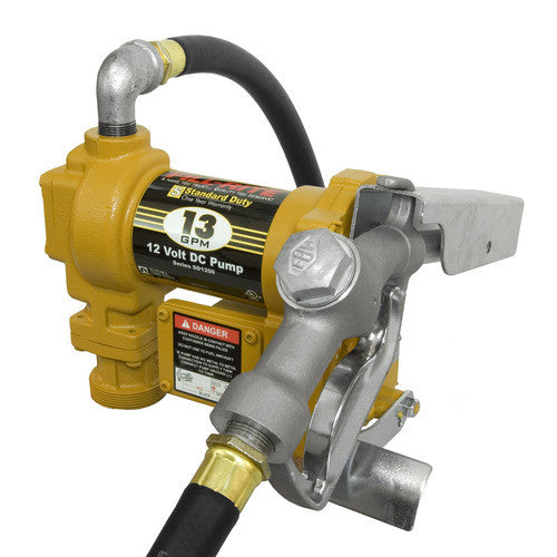 SD1202A 12 Volt Standary Duty DC Fuel Transfer Pump, 13 GPM with Automatic Nozzle