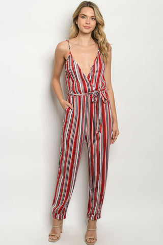 RED NAVY STRIPES JUMPSUIT