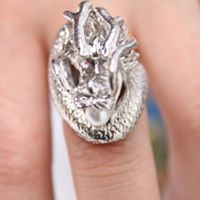 Silver plated dragon adjustable ring
