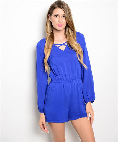 BLUE LONG SLEEVE SHORT PANTS ROMPER