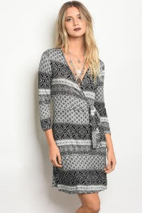 BLACK WHITE WRAP DRESS