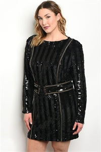 Black Plus Velvet Sequin Dress