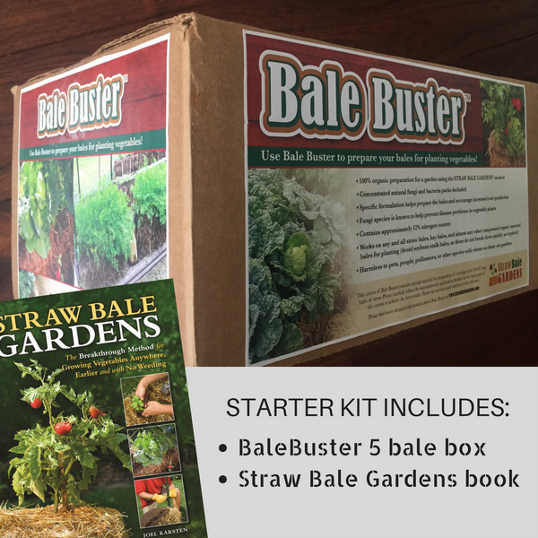 BaleBuster 5 Bale Box + Straw Bale Gardens book, Starter Package Combination