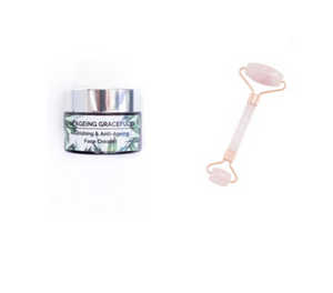 I Am Rose Quartz Facial Roller + I Am Ageing Gracefully 30ml Face Cream