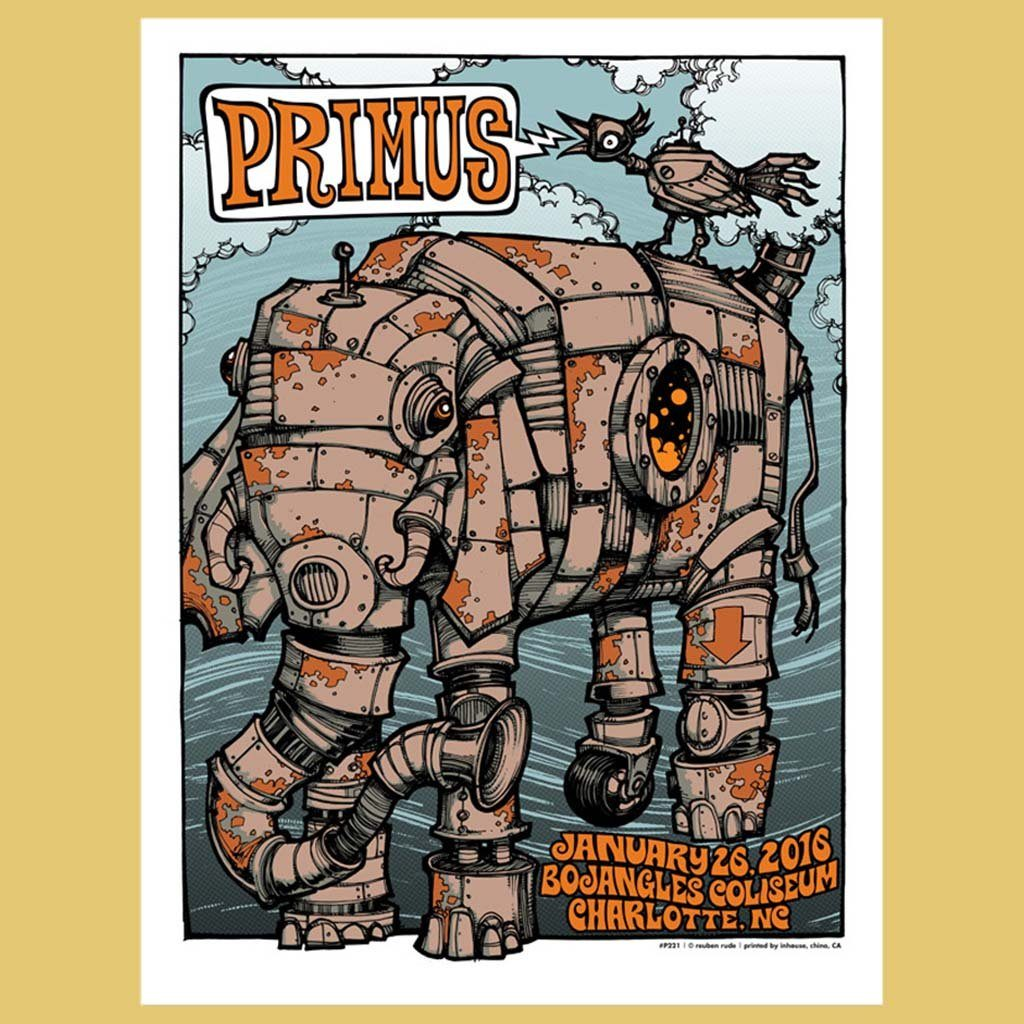 PRIMUS - Jan 26th 2016 - Charlotte, NC Poster
