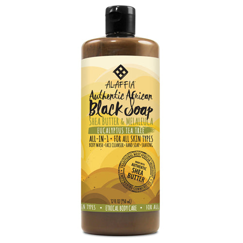 ALAFFIA Authentic African Black Soap-Eucalyptus Tea Tree 32oz