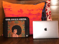 """God.Goals.Grind"" Laptop Sleeve (Black/Orange)"