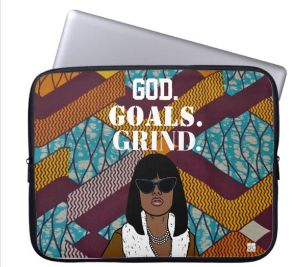 """God.Goals.Grind"" Laptop Sleeve (Multi Color)"