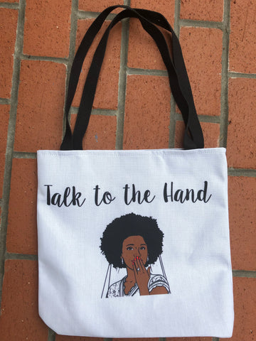 """Talk to the hand"" bridal tote"