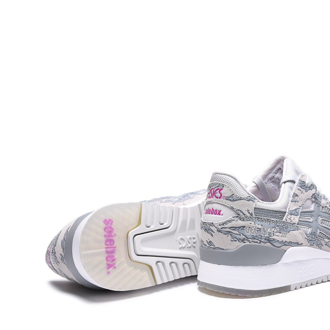 406da366d1cba8 Featuring a glacier grey upper in tiger camo on top of grey suede and mesh.  With hits of Solebox s iconic purple.