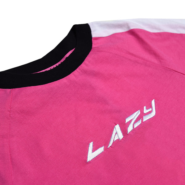 Lazy Sports Ringer Tee Pink