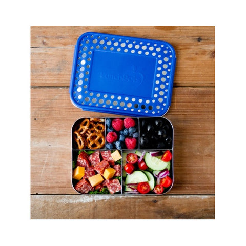 *LunchBots - Bento Cinco (Blue Dots) - Stainless Steel Lunch Container