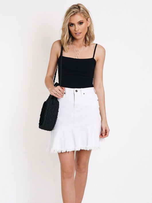 Nolita Denim Skirt - White