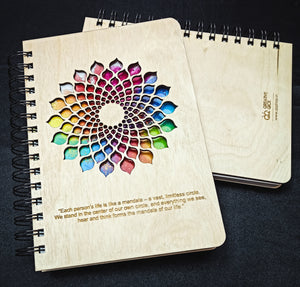 Mandala Notebook - Wooden Diary | Wooden Notebook |  Wooden Personalized notebook | A5 diary | Planner | Vintage Note book | Mandala Cut