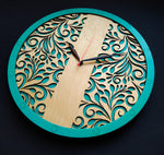 Turquoise Flora | Wooden Wall Art | Colorful Clocks | Clocks to Gift | Mandala Clock | Wooden Clocks| Decor