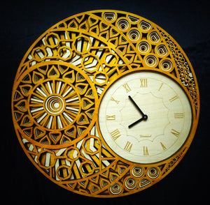 Terrestrial Asteroid - Qreative Qick Wall Clock | Wooden Wall Art | Vintage Clocks | Mandala Clock | Intricate Clocks