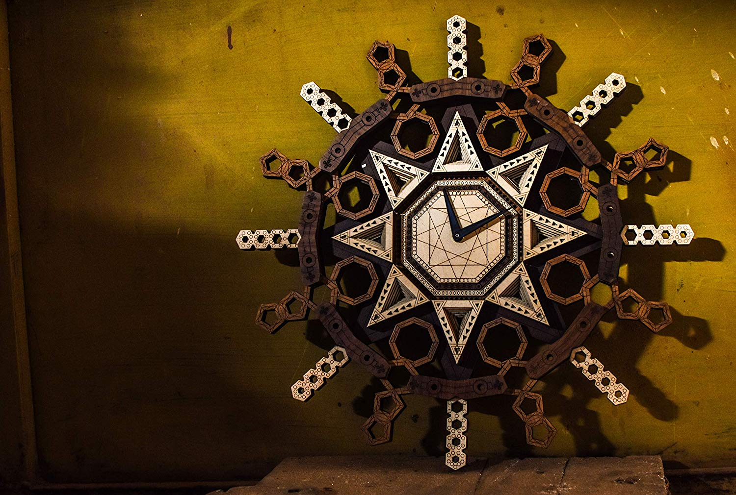 Sacred Geometry - Qreative Qick Wooden Wall Clock | Sacred Vintage Clocks | Mandala Clock