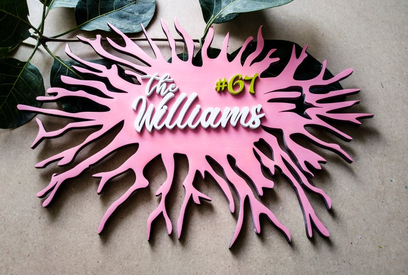 Coral Reef - Qreative Qick Name board | Wooden Sign | Sign Boards