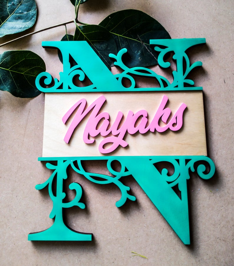 Alphabet - Qreative Qick Name board | Wooden Sign | Sign Boards