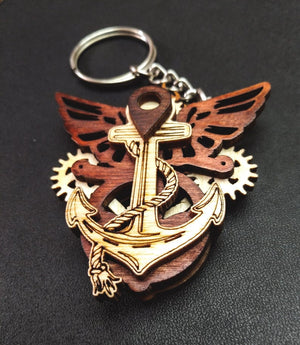 Nautical Knick knack a set of 2 - Qreative Qick Keychain | Wooden Keychain