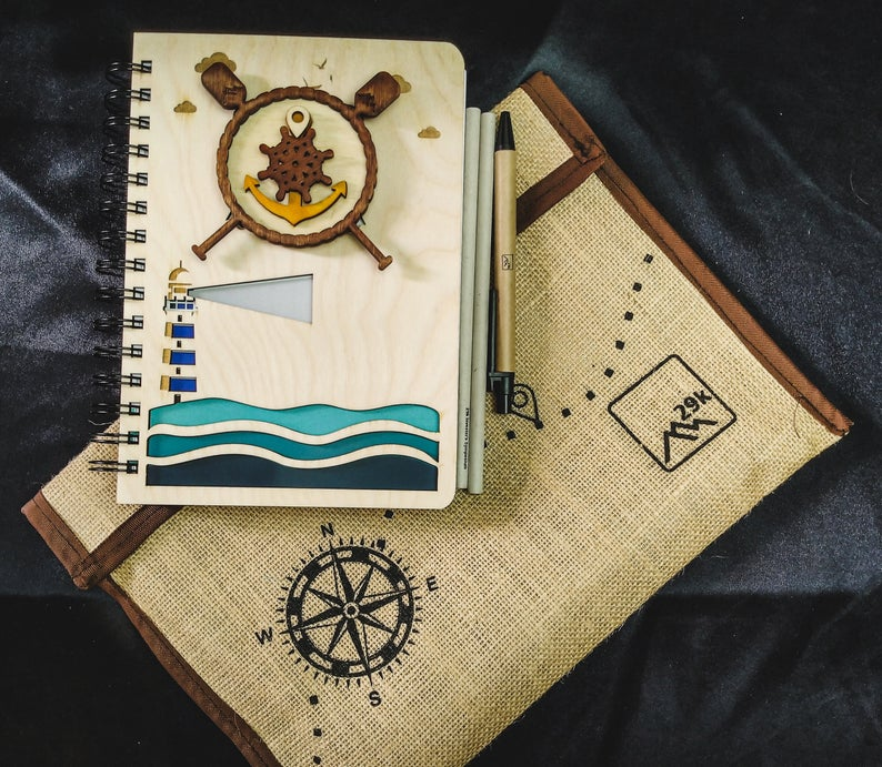 Maritime Notebook  - Qreative Qick Diary | Wooden Diary |Vintage Diary|book to Gift| | Wooden Planner