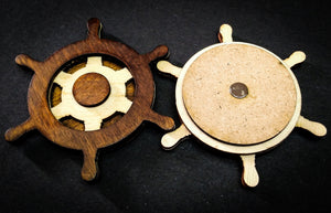 Captains Wheel a set of 2 - QreativeQick Refrigerator Magnet|Wooden Magnet|Vintage Magnet