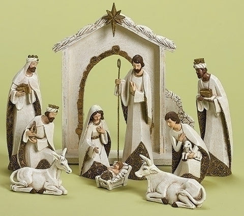 10 Pieces Ivory/Gold Nativity Set