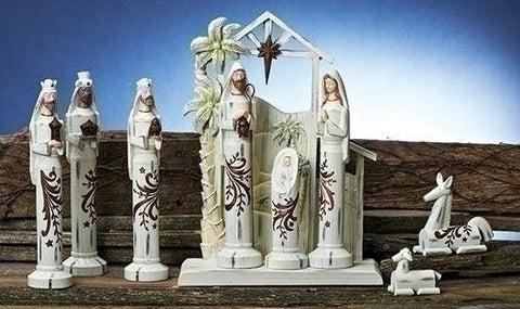 Pedestal White Carved Nativity Set with Stable