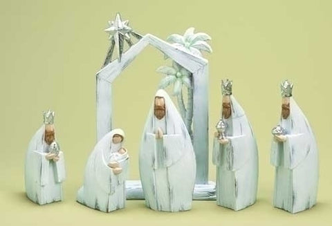 White Wash Nativity Set with Manger