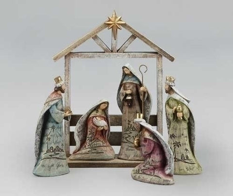 Wood Scene Nativity Set with Stable