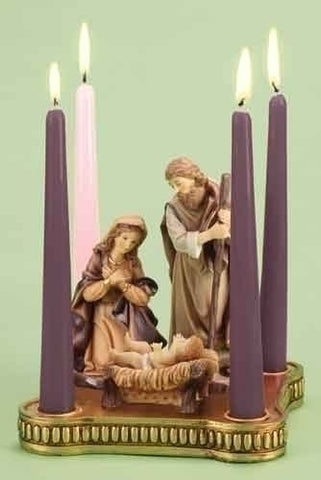 Advent Holy Family Wreath with Gold Base