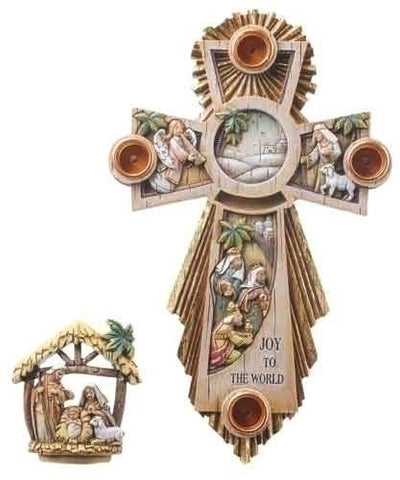 Advent Cross Wreath with Holy Family in Center