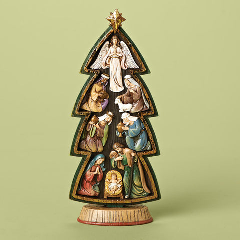 Christmas Tree with Nativity Set