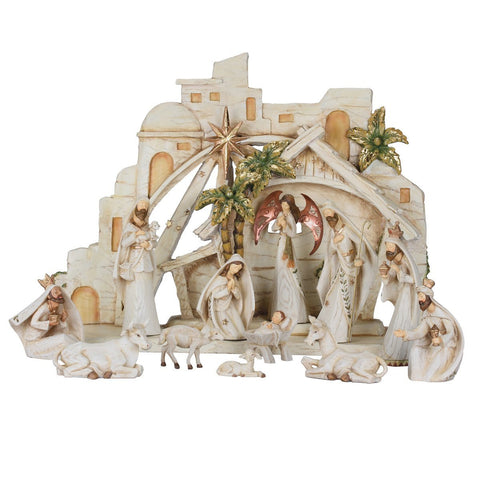 Panorama Bleach Wood Look Nativity Set