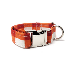 Red Winter Plaid Dog Collar
