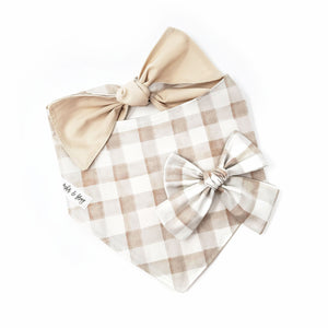 Soft Taupe Gingham Hair Bow
