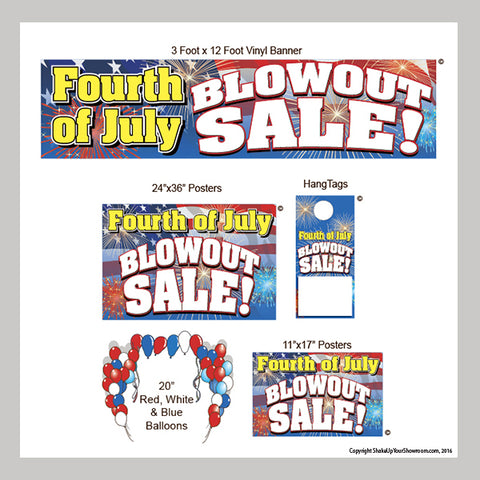 fourth of july blowout sale promotional display kit