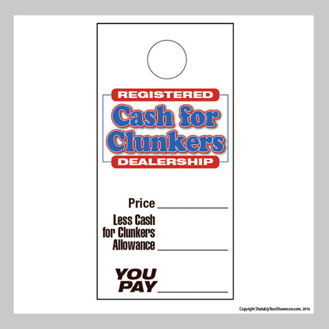 registered cash for clunkers dealership promotional car dealership price hang tag