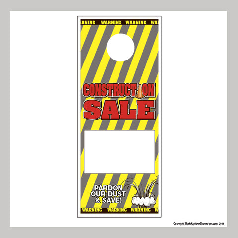 construction sale promotional car dealership price hang tag
