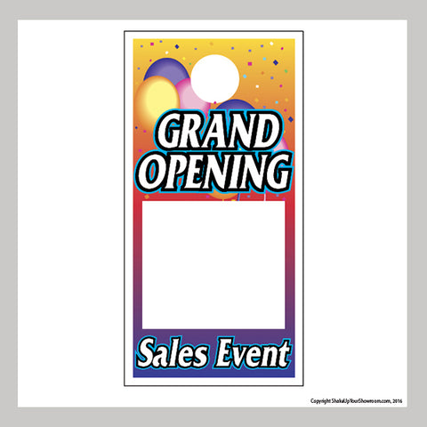 grand opening sales event promotional car dealership price hang tag