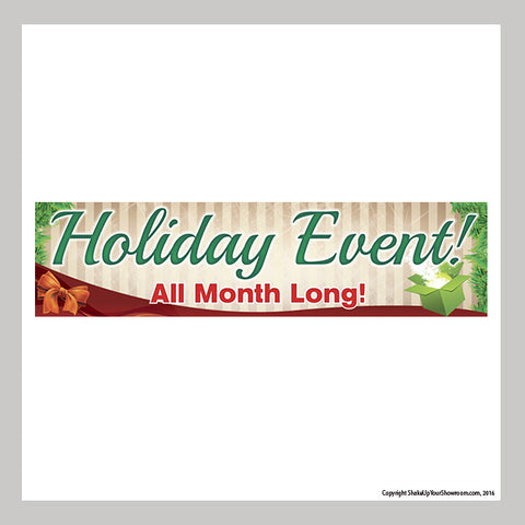 All month long holiday event promotional car dealership vinyl banner