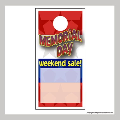 memorial day weekend sale promotional car dealership price hang tag