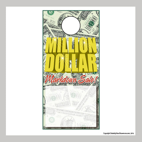 million dollar markdown sale promotional car dealership price hang tag